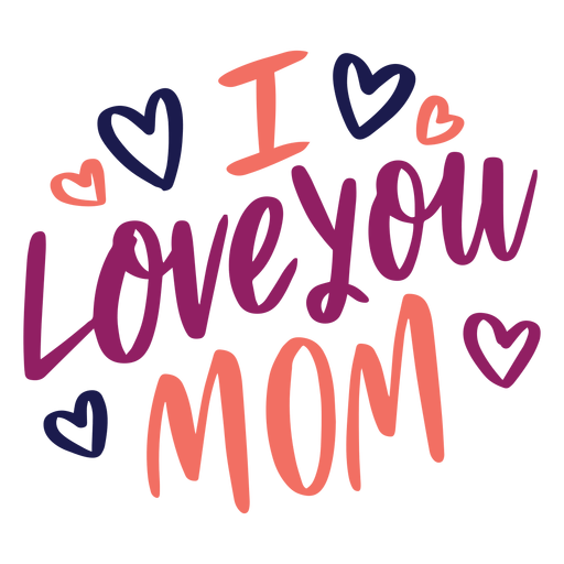 Download I love you mom english heart text sticker - Transparent ...