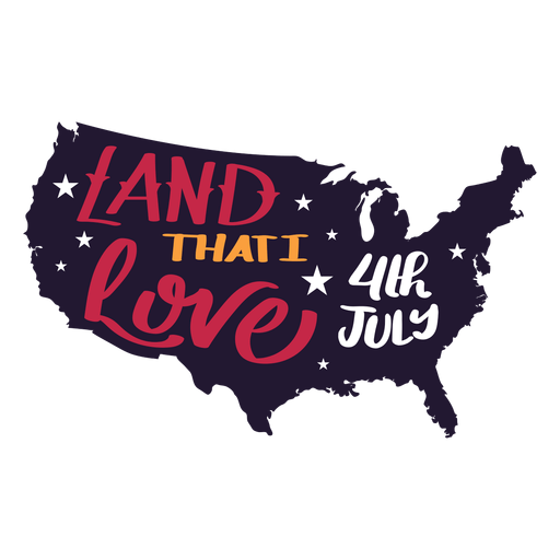 Download Land that i love 4th july country map star sticker ...