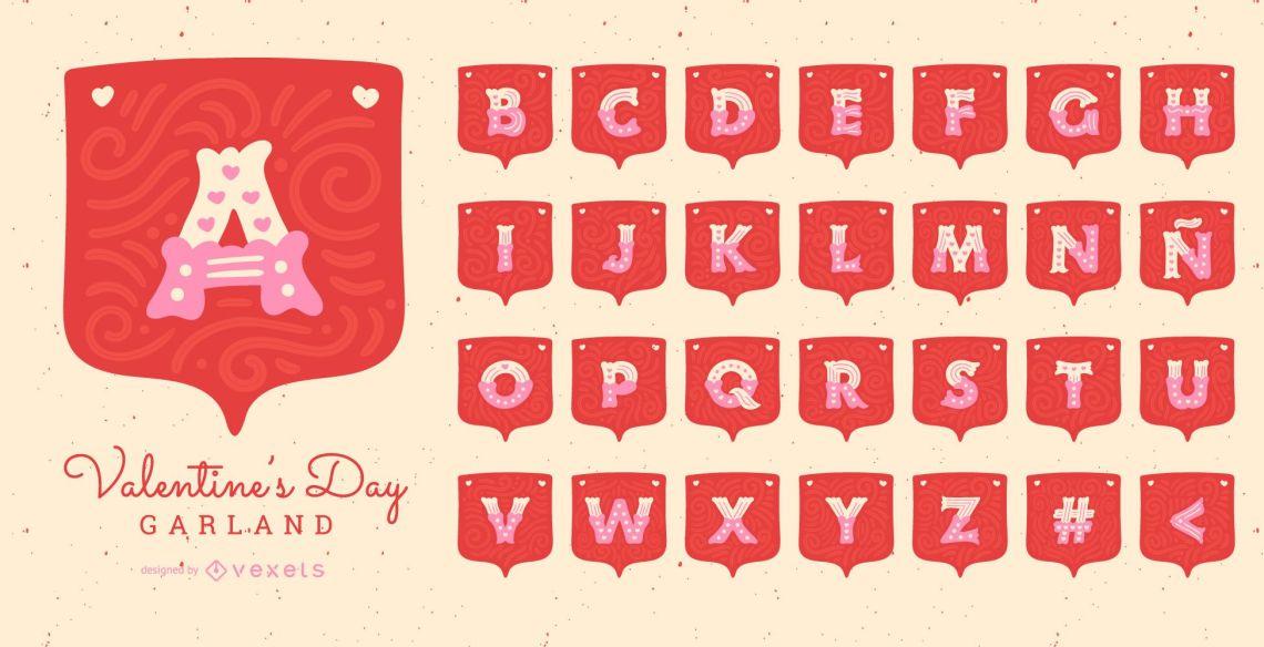 Download Valentine's Day Garland Alphabet Letter Set - Vector Download