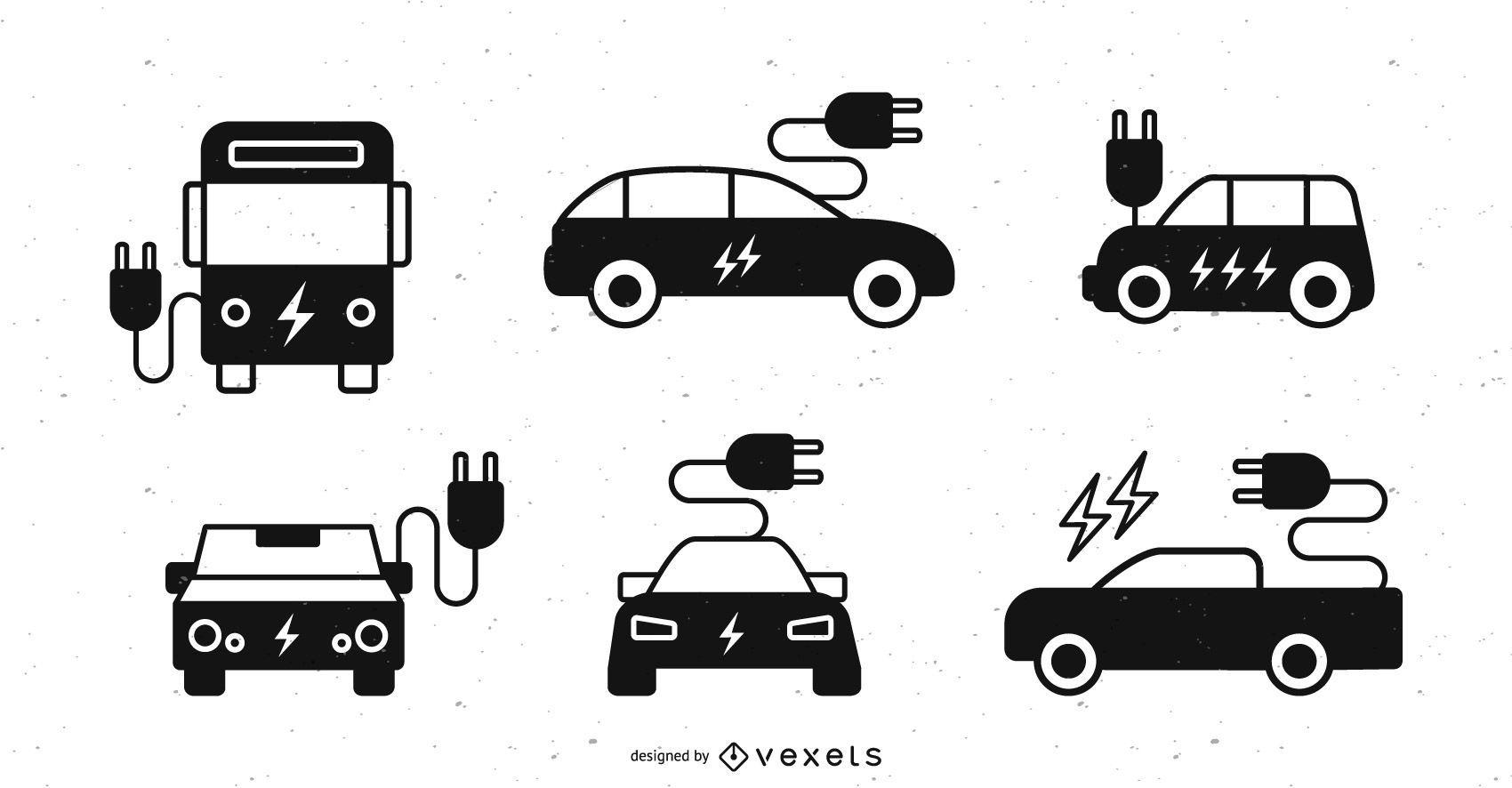 Electric Car Silhouette Set