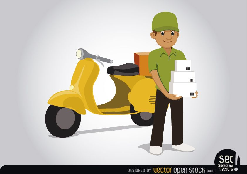 delivery scooter vector mockup with left side view. Motorcycle Vector Graphics To Download