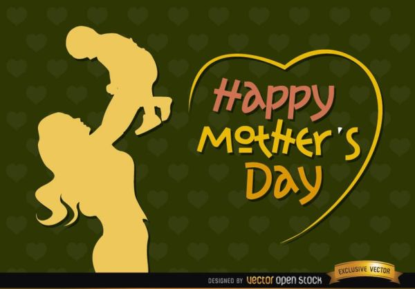 Mom and baby vintage Mother?s day - Vector download