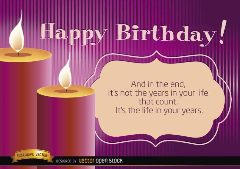 Happy Birthday Candles With Life Message Vector