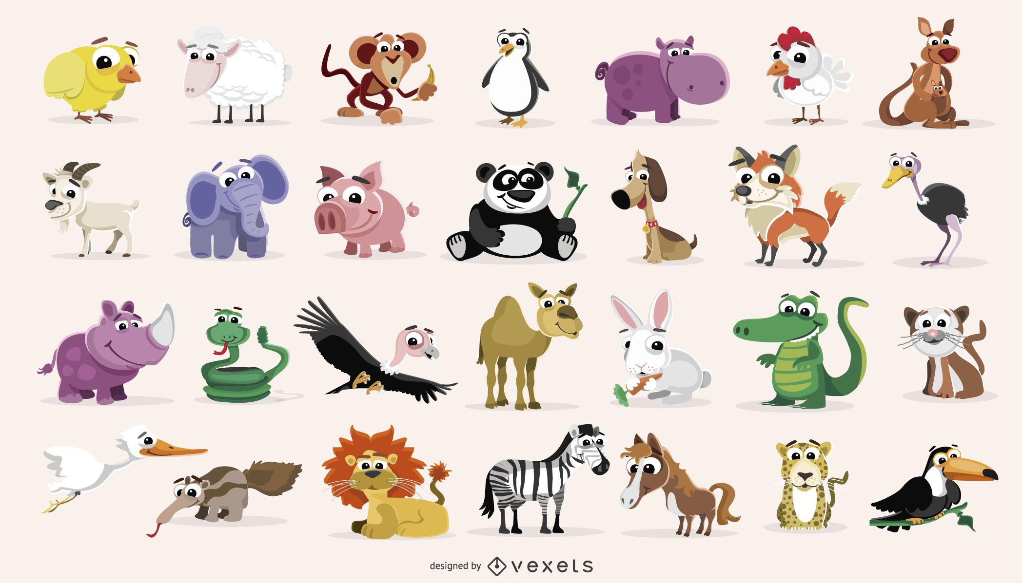 Pack De Dibujos Animados De Animales Domesticos Y Salvajes