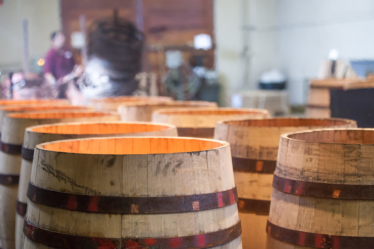 Barrels over flame in the cooperage- credit Lori Paladino Photography
