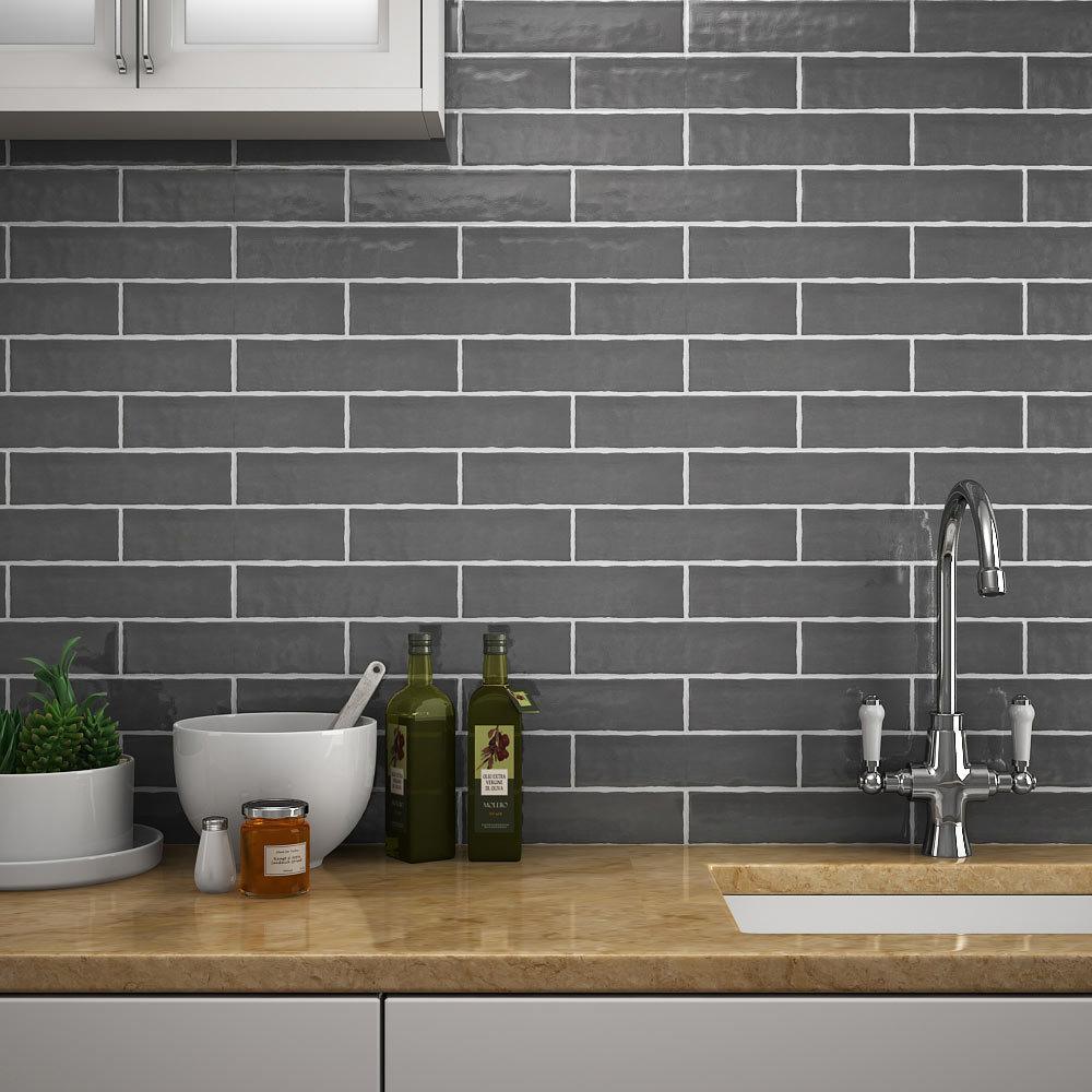 Mileto Brick Grey Gloss Ceramic Wall Tile 75 X 300mm Pack Of 25