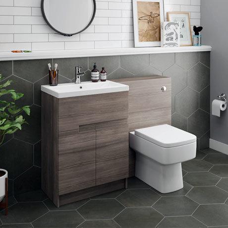 Urban Grey Avola Modern Sink Vanity Unit + WC Toilet Unit ...