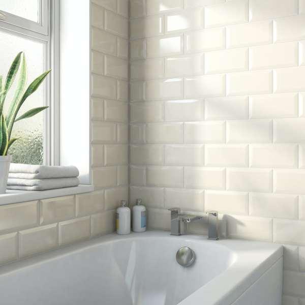 metro subway ivory cream bevelled gloss wall tile 100mm x 200mm