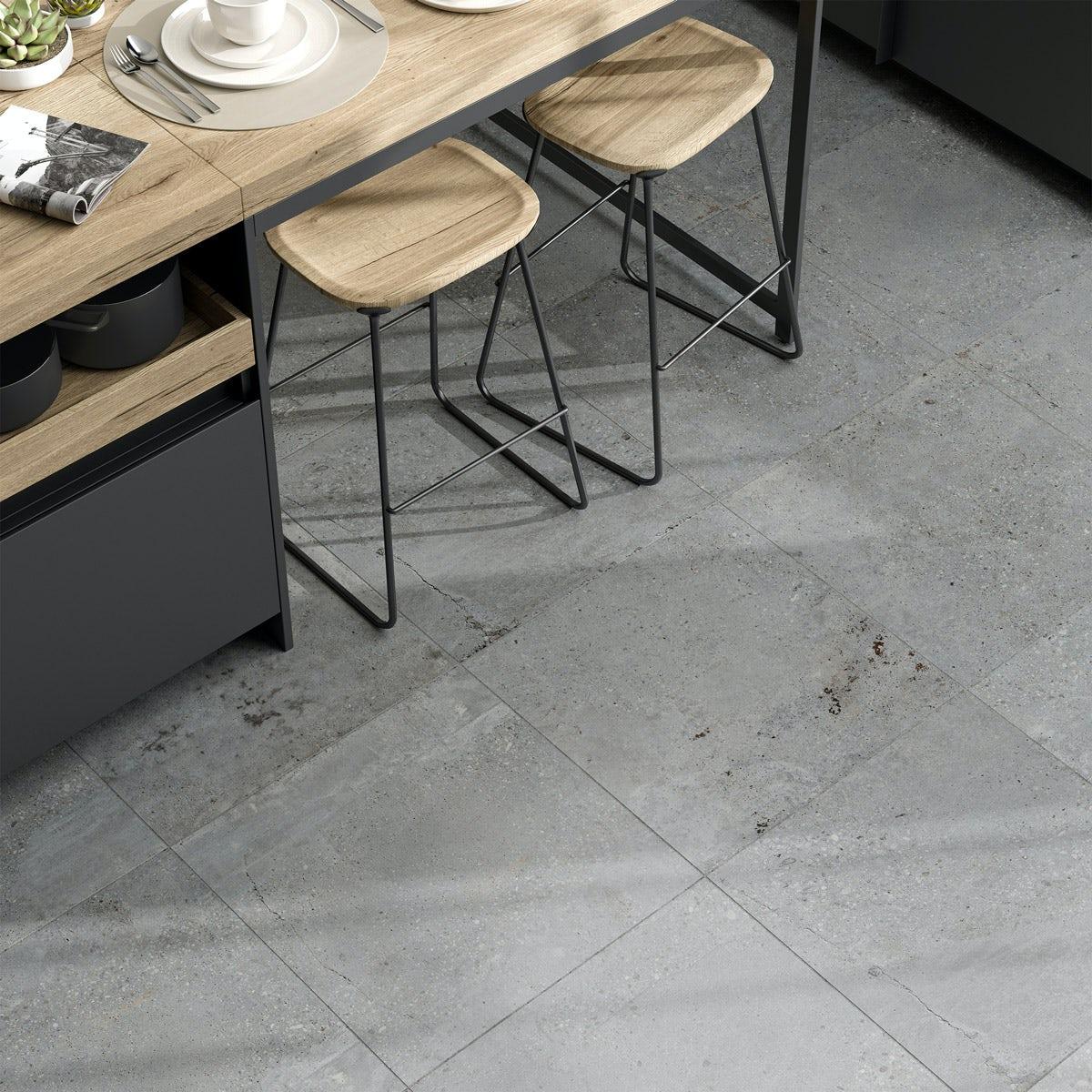Michigan Light Grey Stone Effect Matt Wall And Floor Tile 600mm X 600mm Victoriaplum Com