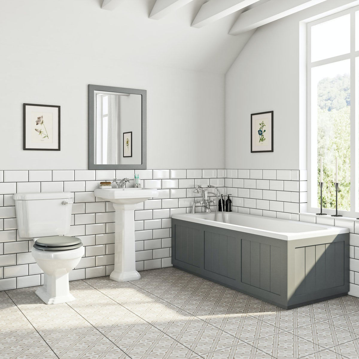 The Bath Co Dulwich Stone Grey Bathroom Suite With Straight Bath 1700 X 700mm Victoriaplum Com