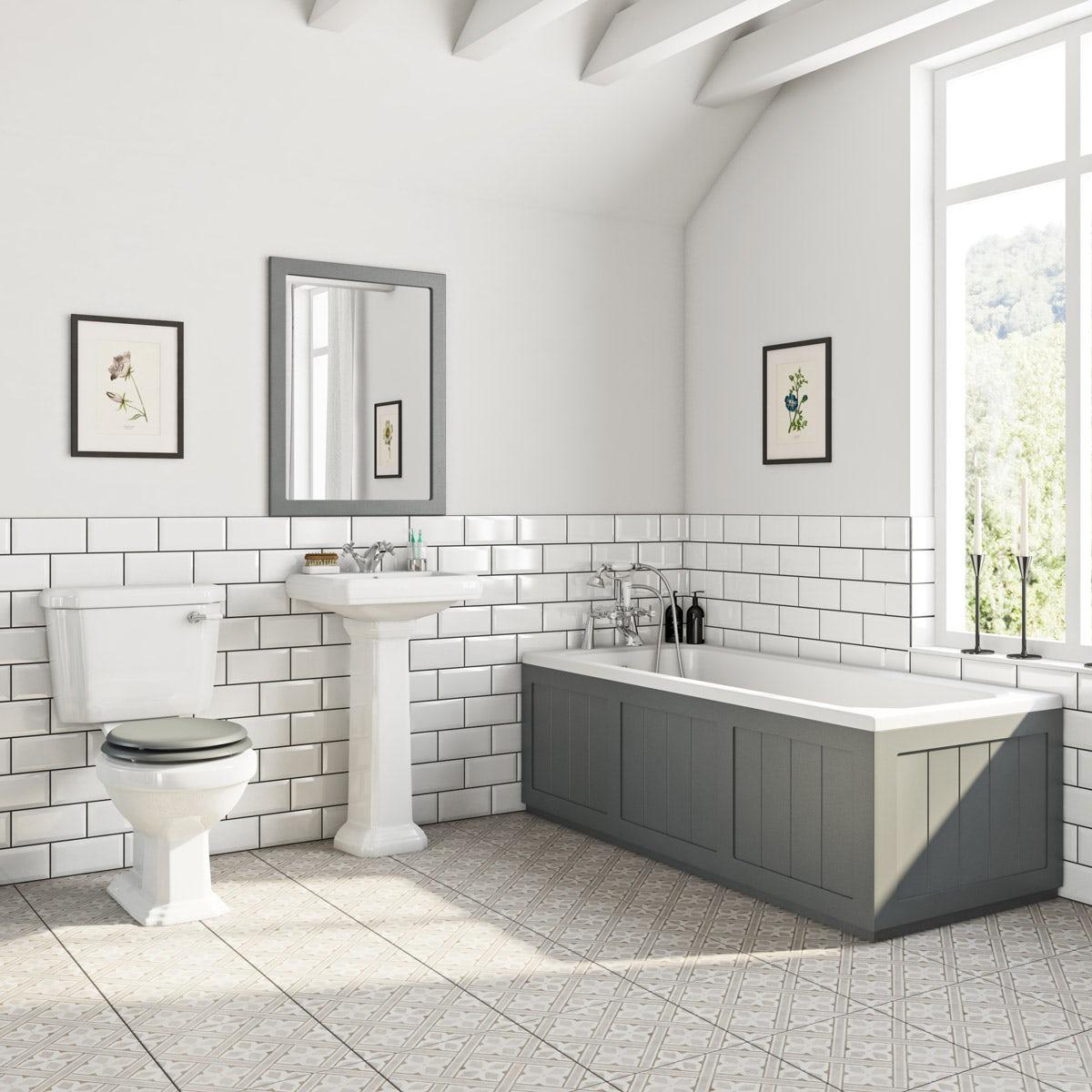 The Bath Co Dulwich Stone Grey Bathroom Suite With Straight Bath 1700 X 700mm Victoriaplum Com