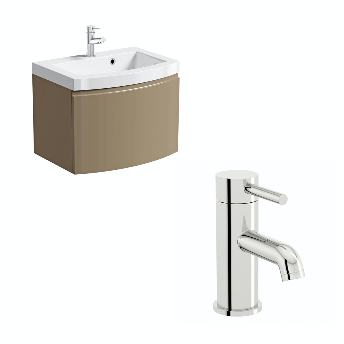 Mode Harrison Mocha Wall Hung Vanity Unit And Basin 600mm With Free Tap