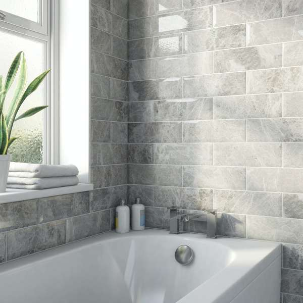 maxi metro subway silver marble bevelled gloss wall tile 100mm x 300mm