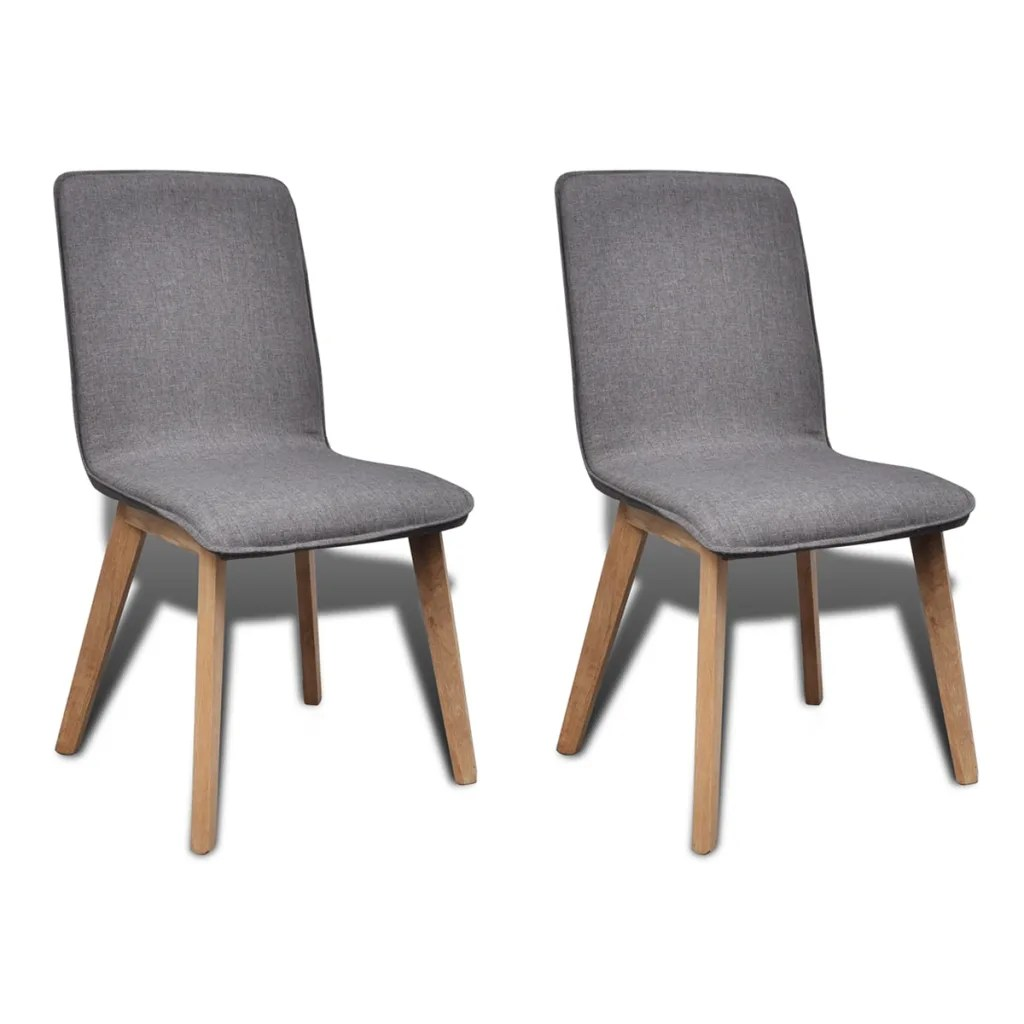 Set Of 2 Dark Gray Fabric Oak Dining Chair Indoor