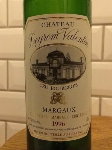 Chteau Deyrem Valentin Margaux 1996 Wine Info