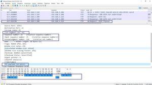 Wireshark-Mitschnitt eines TCP-Handshakes.
