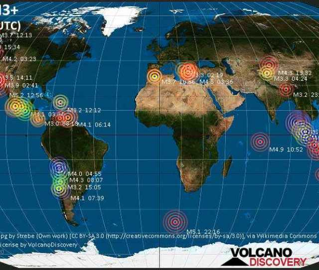 World Map Showing Earthquakes Above Magnitude 3 During The Past 24 Hours On