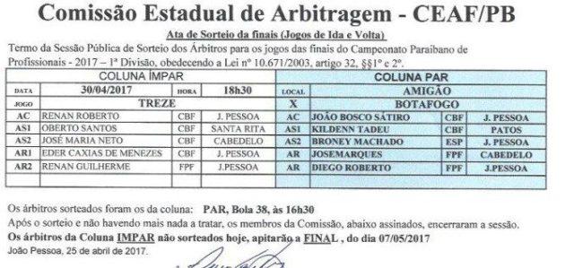 Federação define juízes das finais do Paraibano de Futebol 2017