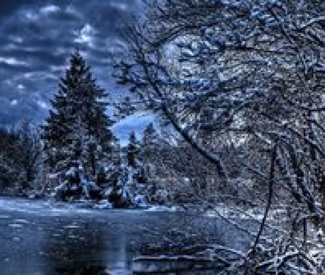 Preview Wallpaper Winter Trees River Lake Snow Ice Hdr