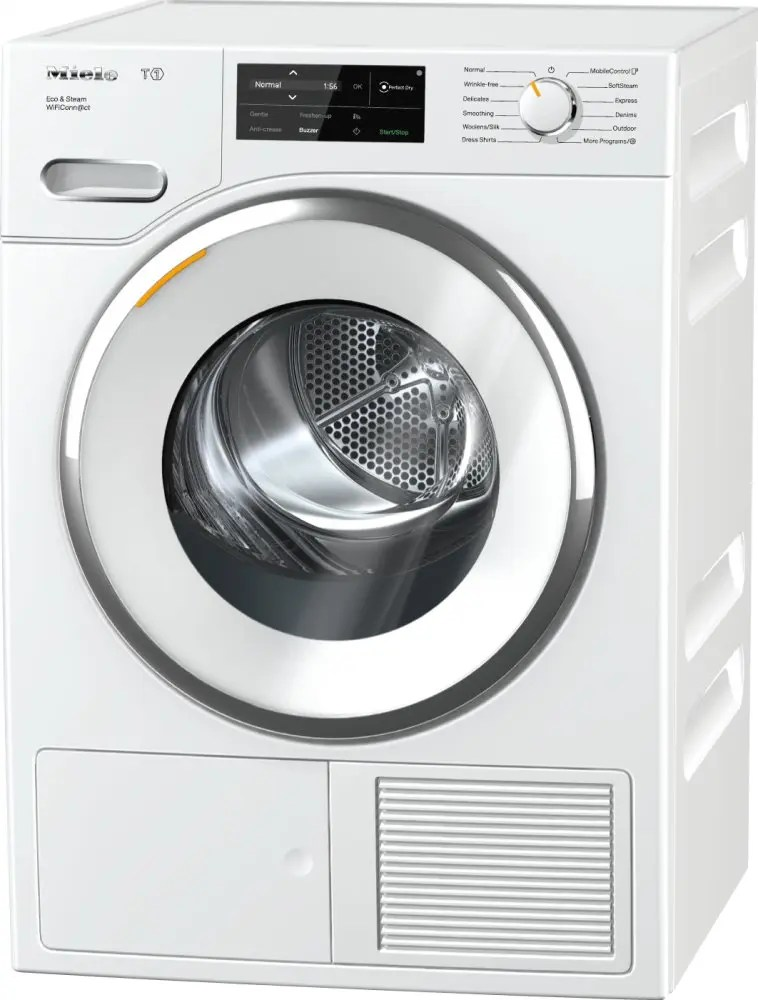 TWI 180 WP Eco & Steam WiFiConn@ct - T1 Heat-pump tumble dryer with @home and SteamFinish for smart laundry care.