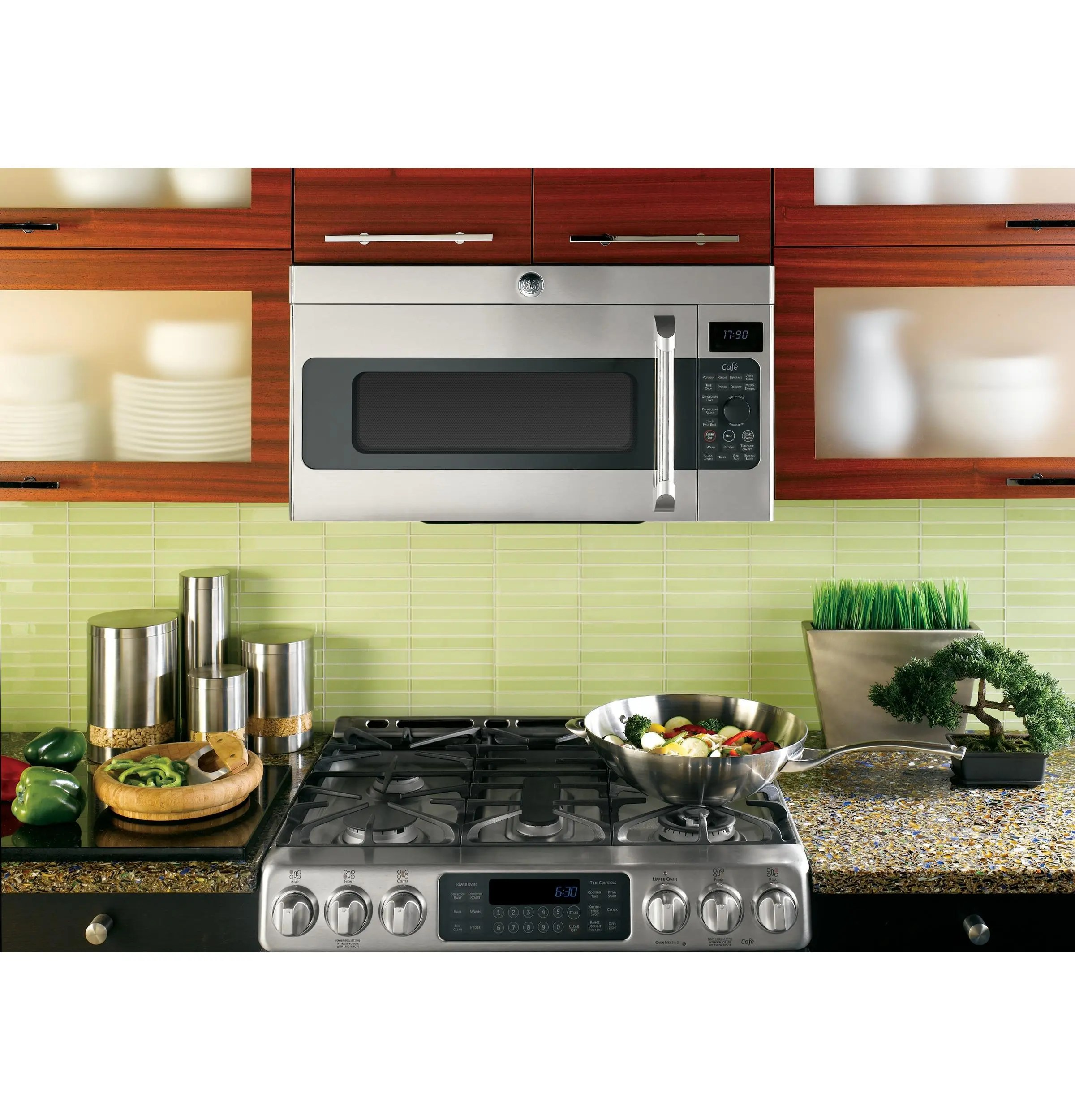 ge cafe series 1 7 cu ft convection over the range microwave oven