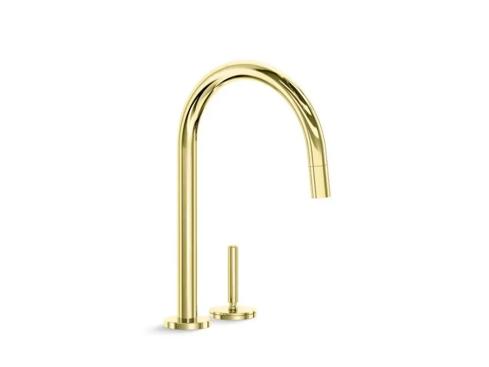 pull down kitchen faucet unlacquered brass