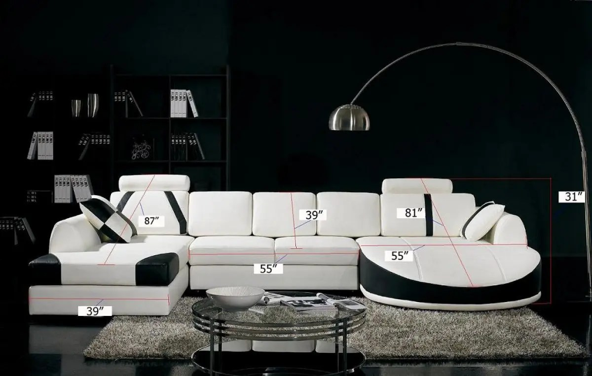 divani casa t57 modern white and black eco leather sectional sofa