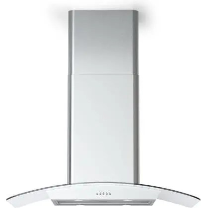 Cortivo Island Mount Glass Canopy Range Hood with 560 CFM LED Lighting Mesh Filters in Stainless Steel