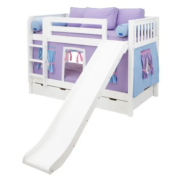Smile27ws In By Maxtrix In Oklahoma City Ok Low Bunk Bed With Straight Ladder Slide Curtain Twin White Slat