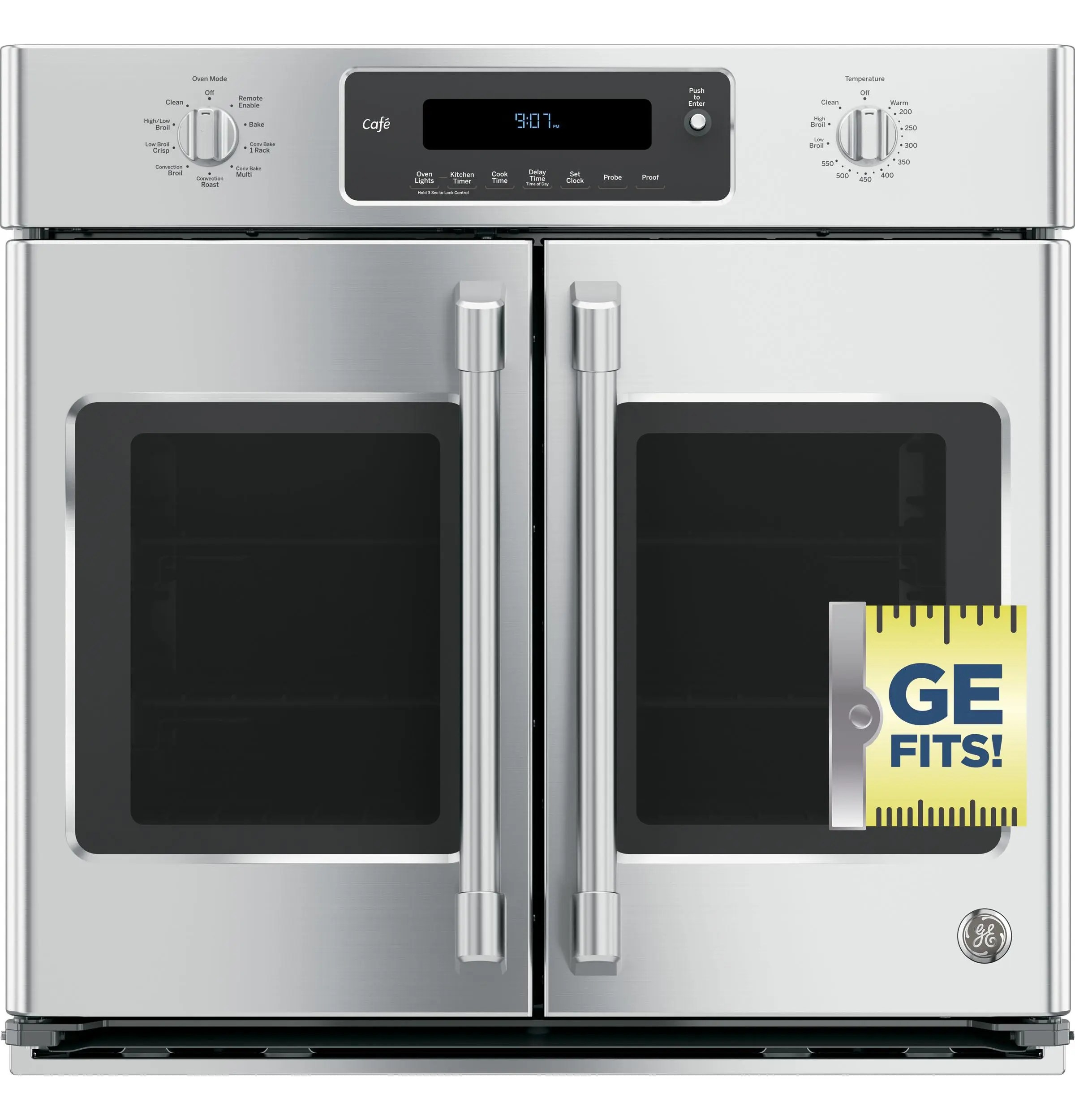ge cafe series 30 built in french door single convection wall oven