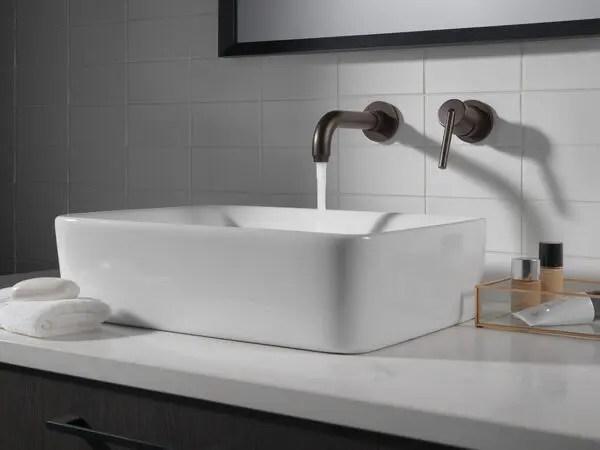 venetian bronze single handle wall mount bathroom faucet trim