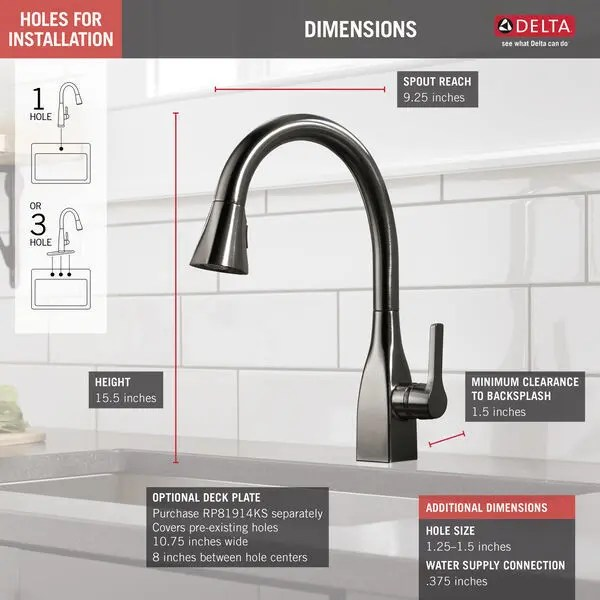 black stainless single handle pull down kitchen faucet with shieldspray technology