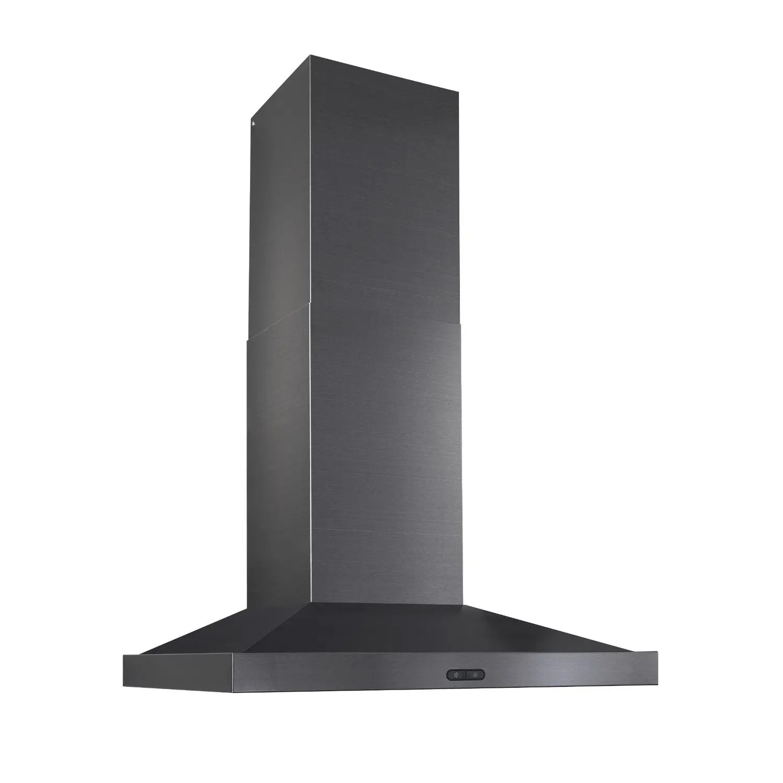 36-Inch Convertible Wall-Mount Chimney Range Hood, 500 CFM, Black Stainless Steel