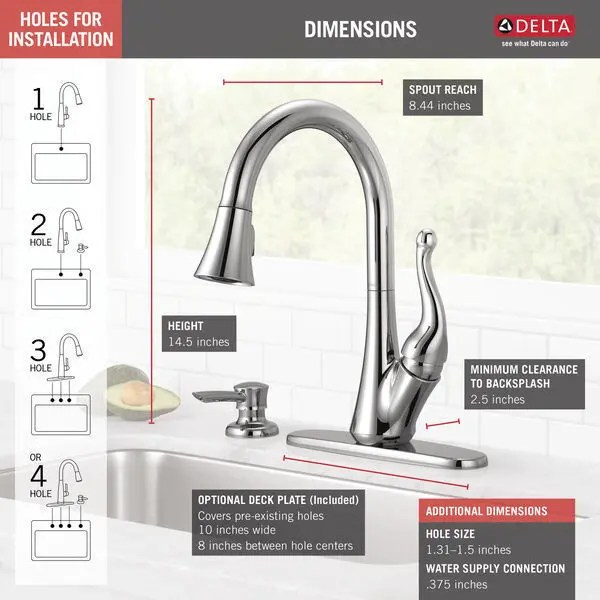 chrome single handle pull down kitchen faucet with soap dispenser