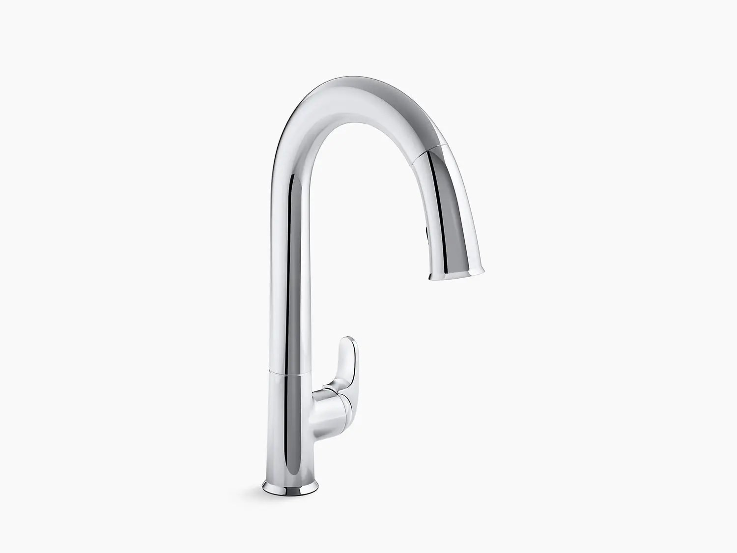 matte black touchless kitchen faucet with 15 1 2 pull down spout docknetik magnetic docking system and a 2 function sprayhead featuring the new