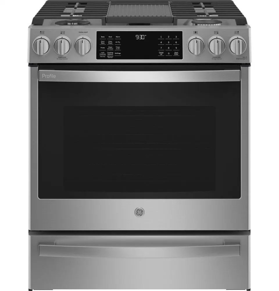 """GE Profile™ 30"""" Smart Slide-In Front-Control Gas Fingerprint Resistant Range with No Preheat Air Fry"""