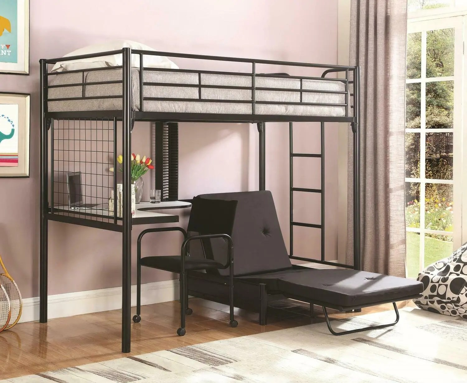 2209 In By Coaster In Monroe Wa Contemporary Metal Loft Bunk Bed With Desk