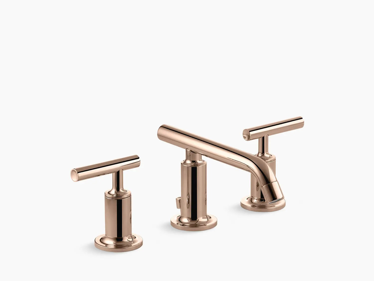 vibrant rose gold widespread bathroom sink faucet with low lever handles and low spout