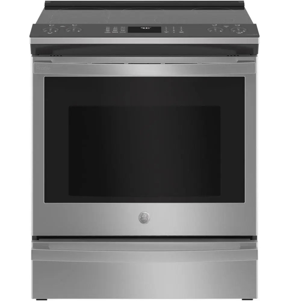 ge profile 30 smart slide in electric convection fingerprint resistant range with no preheat air fry