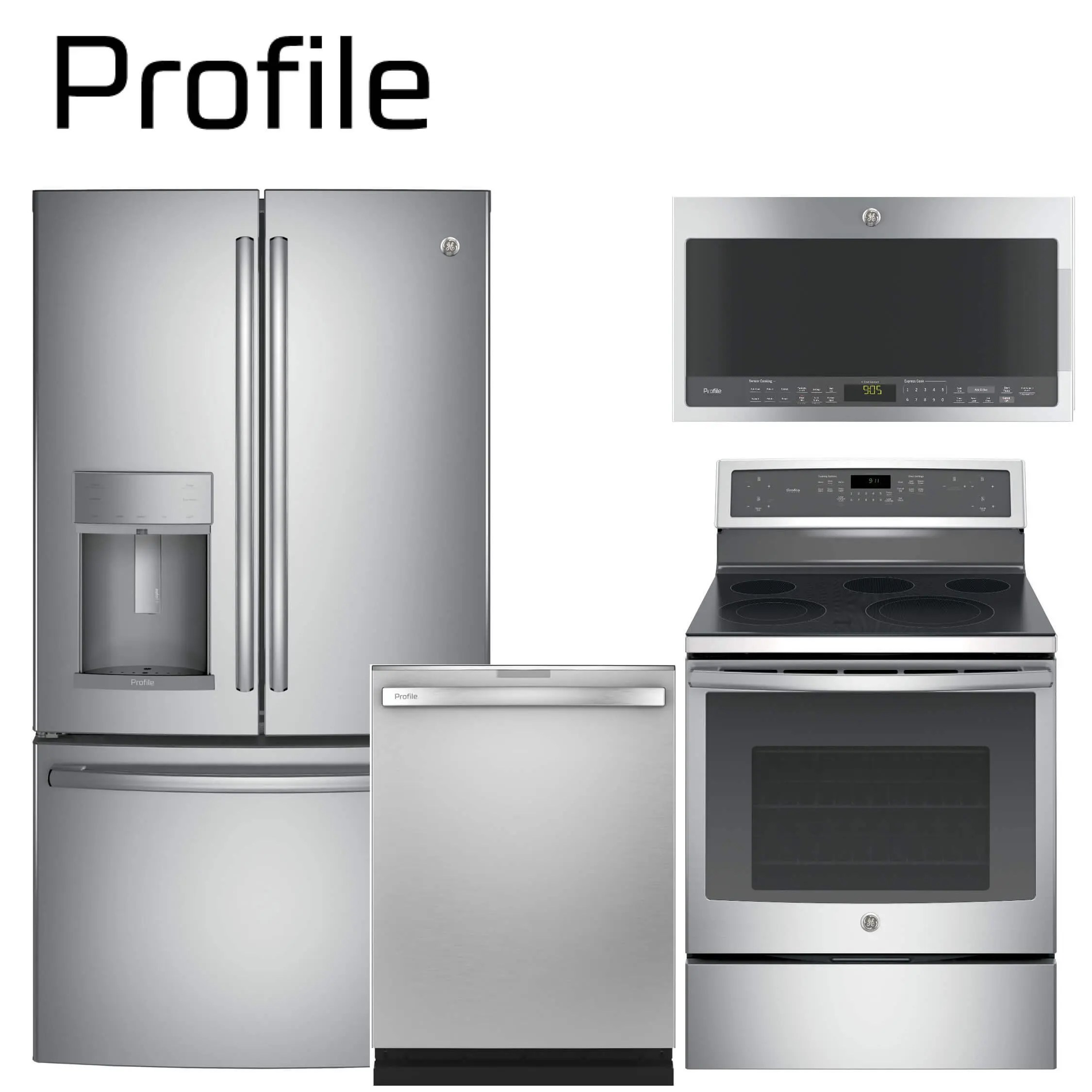 ge profile series deluxe 4 piece stainless steel kitchen package