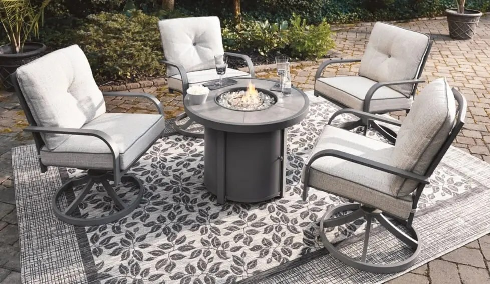 5 piece patio set w fire pit table