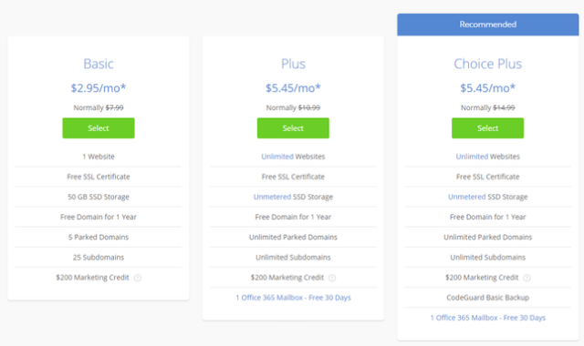 bluehost shared wordpress pricing