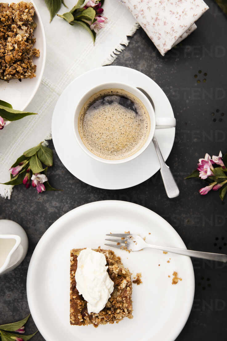 https www westend61 de en imageview evgf03732 cup of coffee and homemade rhubarb cake on garden coffee table