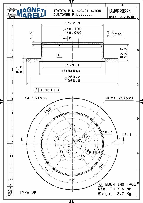 Scion Tc Disc Brake Rotor Parts