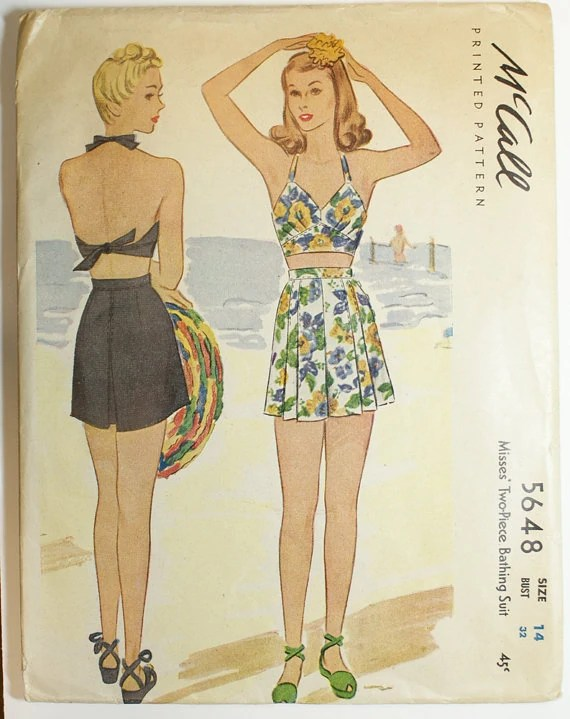McCall 5648 (1944) Two-piece bathing suit
