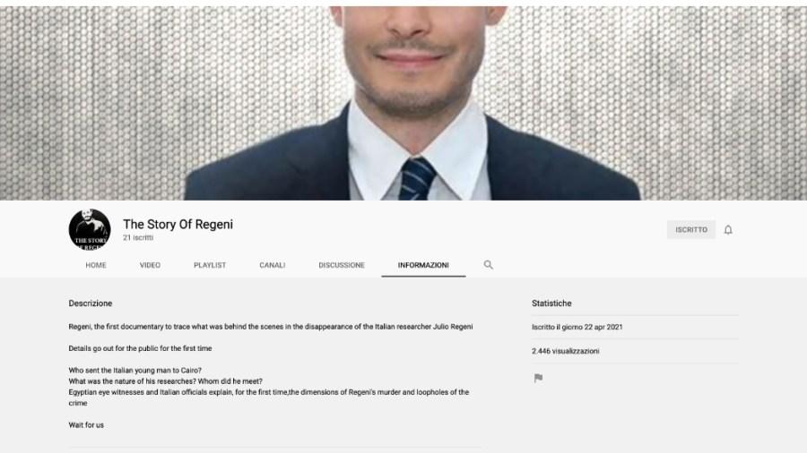 The Story of Regeni - l'account su YouTube
