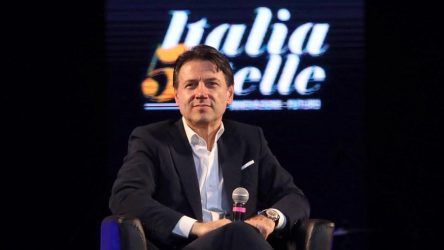 Napoli, festa Italia 5 stelle per i 10 anni del Movimento 5 stelle nel 2019. In foto l'ex premier Giuseppe Conte (Ipa-Fotogramma)