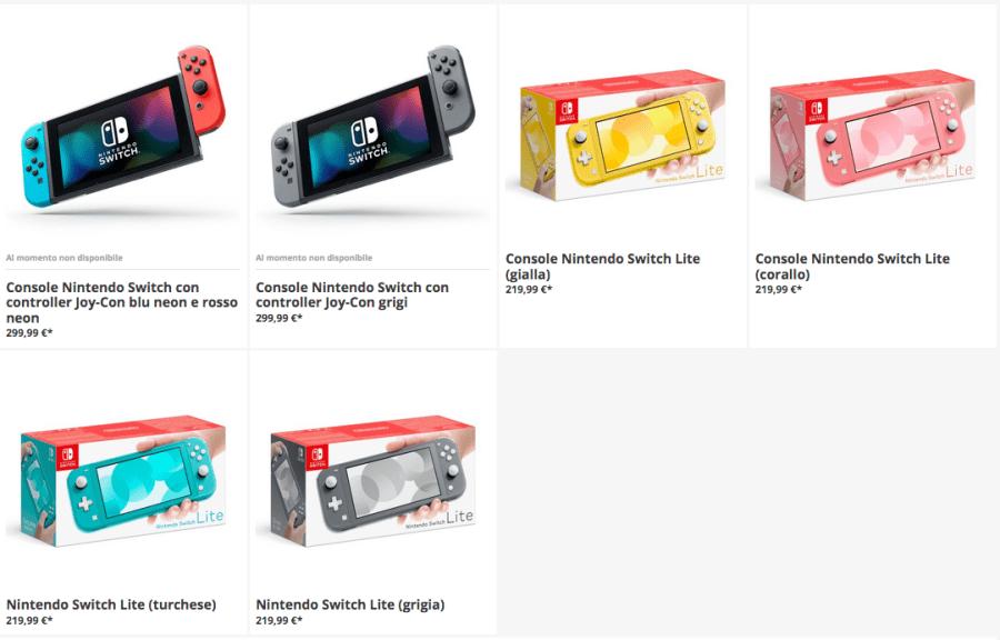 nintendo switch prezzi