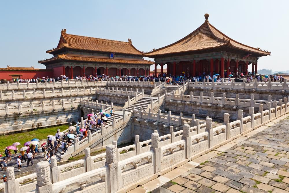 Many tourists visit the Forbidden City in Beijing, China, each year.