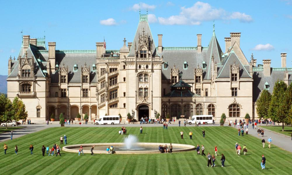 Many tourists visit the Biltmore House in Asheville, North Carolina.